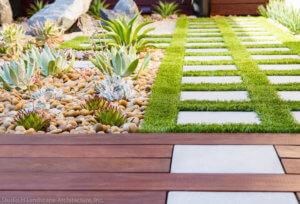 artifical grass backyard steps